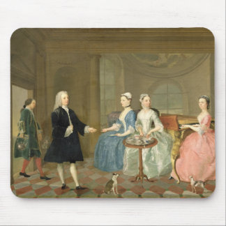 A Family Being Served with Tea, c.1740-45 (oil on Mouse Pad