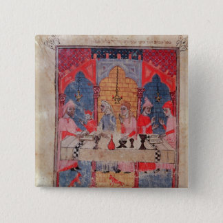 A family gathered at the table for Passover 2 Inch Square Button