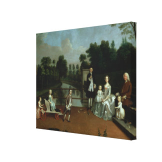 A Family Group on a Terrace in a Garden, 1749 Canvas Print