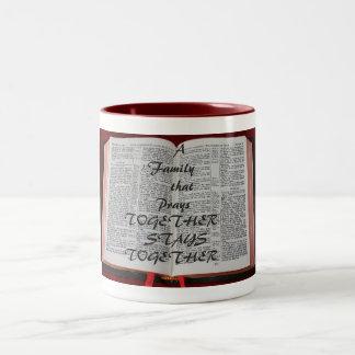 A family that prays Two-Tone coffee mug