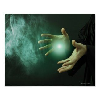 A fantasy wizard making magic with his hands. poster