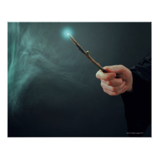 A fantasy wizard making magic with wand. poster