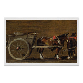 A Farm Cart with two Horses in Harness: A Study fo Poster