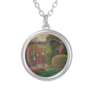 A Farm in Brittany - Paul Gauguin Silver Plated Necklace