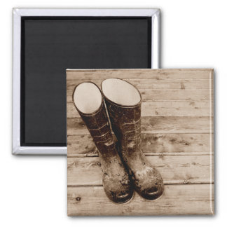A Farmer's Muddy Rubber Boots Magnet