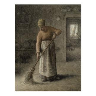 A Farmer's wife sweeping, 1867 Postcard