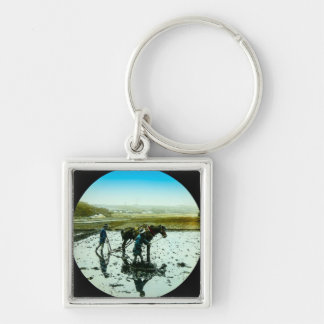 A Farming Scene in Old Japan Vintage Japanese Silver-Colored Square Keychain
