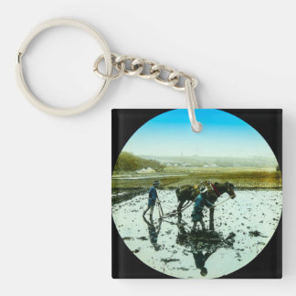 A Farming Scene in Old Japan Vintage Japanese Single-Sided Square Acrylic Keychain