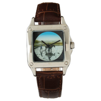 A Farming Scene in Old Japan Vintage Japanese Wrist Watch
