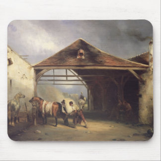 A Farrier shoeing a Horse Mouse Pad