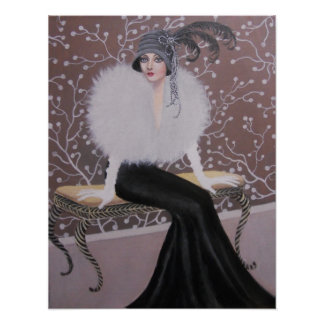 A FASHIONABLE ART DECO LADY POSTER