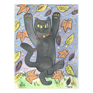 A Feeling Lucky Autumn Leaf Dance Postcard