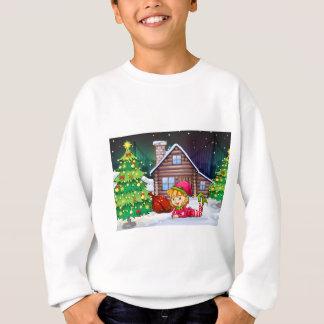 A female Santa elf near the christmas tree Sweatshirt