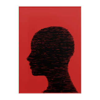 A  Feminine Head Black and Red Acrylic Wall Art