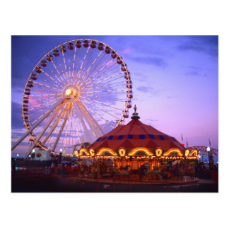 A ferris wheel and carousel at the Navy Pier in Postcard