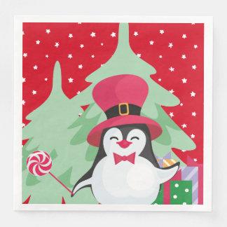 A Festive Penguin - 1 Paper Napkin