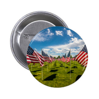 A field of American Flags on V-day Remembrance 2 Inch Round Button