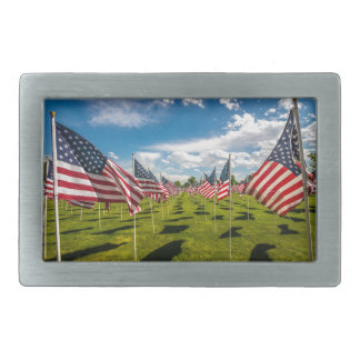 A field of American Flags on V-day Remembrance Belt Buckles
