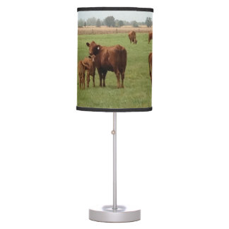 A Field Of Brown Cows Table Lamp