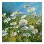 A Field of White Daisies Poster