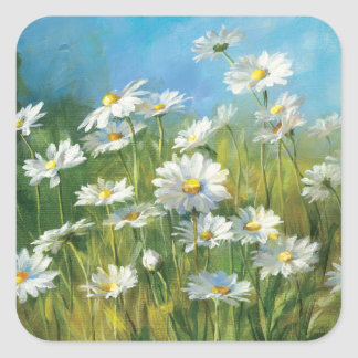 A Field of White Daisies Square Sticker
