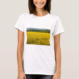 a field of yellow rapeseed flowers t-shirt