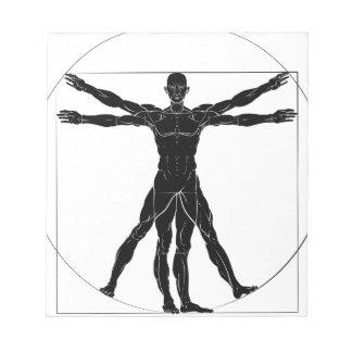 A figure like Leonard Da Vinci s Vitruvian man ana Notepads