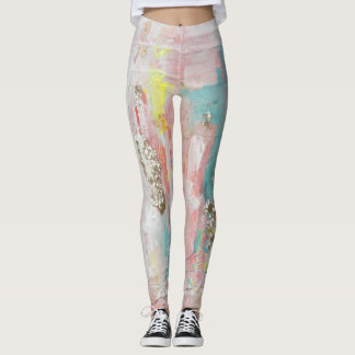 A Fine Day - Mixed Media Abstract Painting Leggings