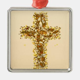 A fishy Cross. Silver-Colored Square Ornament