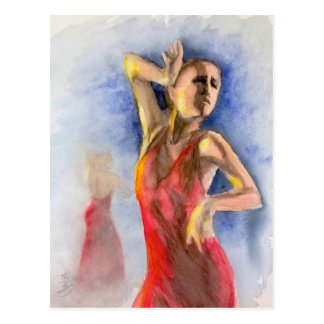 A FLAMENCO DANCER  2 POSTCARD