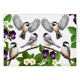 A Flock of Black Capped Chickadees Card