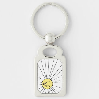 A Flock of Flying Wild Geese at Sunrise Silver-Colored Rectangular Metal Keychain