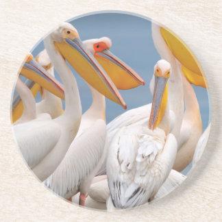 A Flock Of Pelicans Drink Coaster
