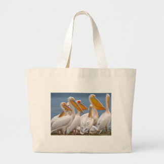 A Flock Of Pelicans Large Tote Bag