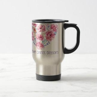 A flower cannot blossom travel mug