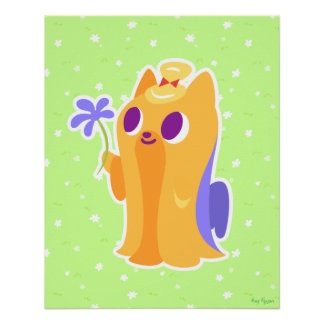 """""""A Flower For You"""" Long-haired Kawaii Yorkie Perfect Poster"""