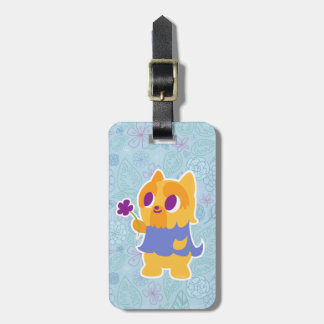 """""""A Flower For You"""" Short-haired Kawaii Yorkie Luggage Tag"""