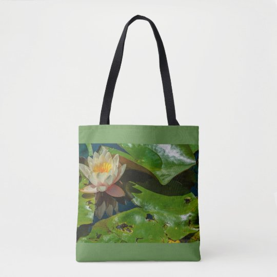 a flowery waterlily on tote bag