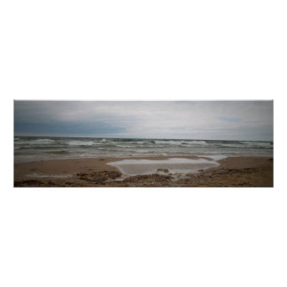 A foggy day at the beach poster