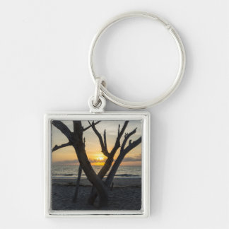 A Folly Sunrise Silver-Colored Square Keychain