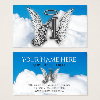 A For Angel Alphabet Letter Initial Business Card