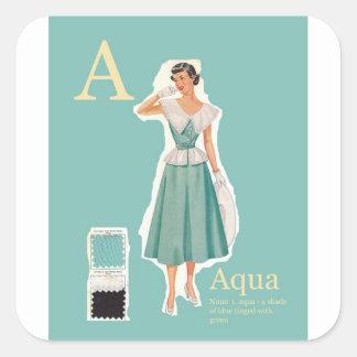 A for Aqua Gift wrap Square Sticker