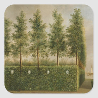 A Formal Garden Painting Square Stickers