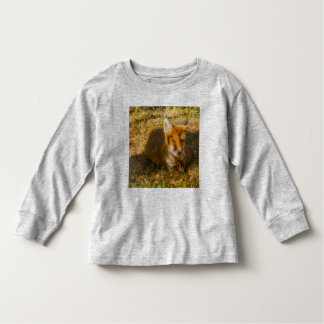 a fox resting on Toddler Long Sleeve T-Shirt