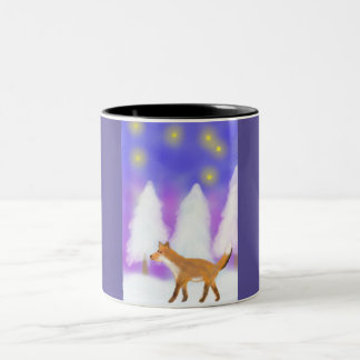 A Fox walking in the Winter Wonderland Two-Tone Coffee Mug