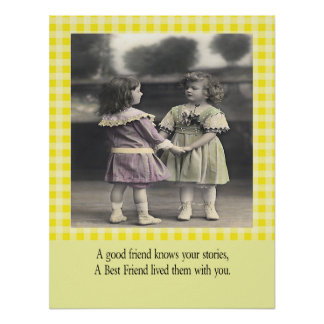 A friend knows your stories yellow gingham poster