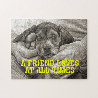 A Friend Loves At All Times Beagle Puppy Jigsaw Puzzle