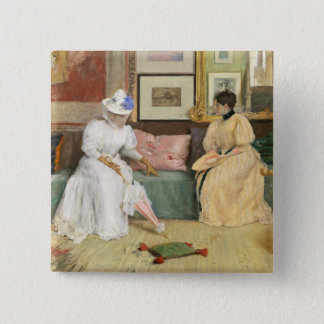 A Friendly Call, 1895 (oil on canvas) 2 Inch Square Button