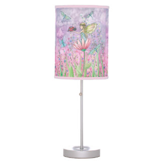 A Friendly Encounter Fairy and Ladybug Art Table Lamp