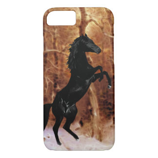 A friesian horse in winter snow iPhone 7 case